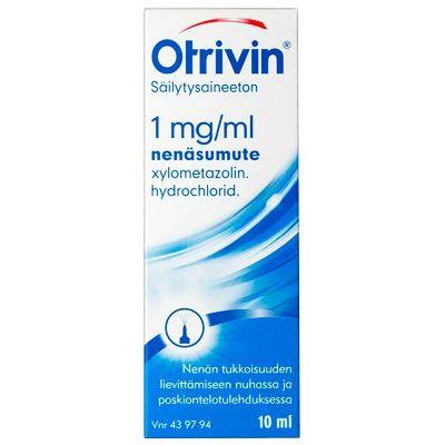 OTRIVIN SÄILYTYSAINEETON 1 mg/ml nenäsumute, liuos 10 ml