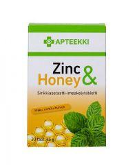 APTEEKKI Zinc & Honey Mintunmakuinen 30 tabl